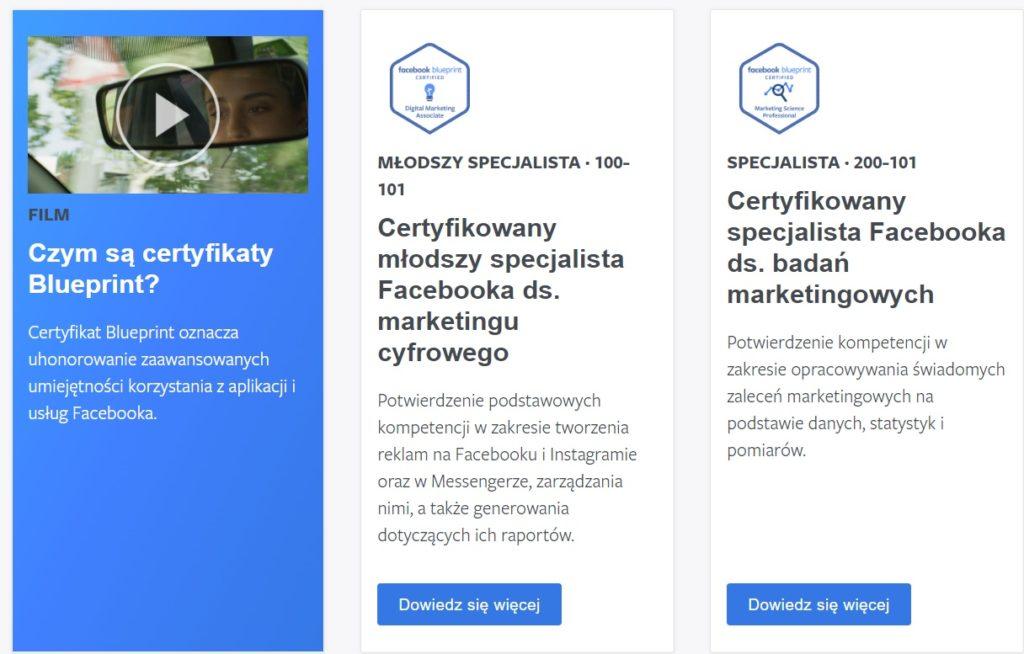 certyfikaty facebook blueprint