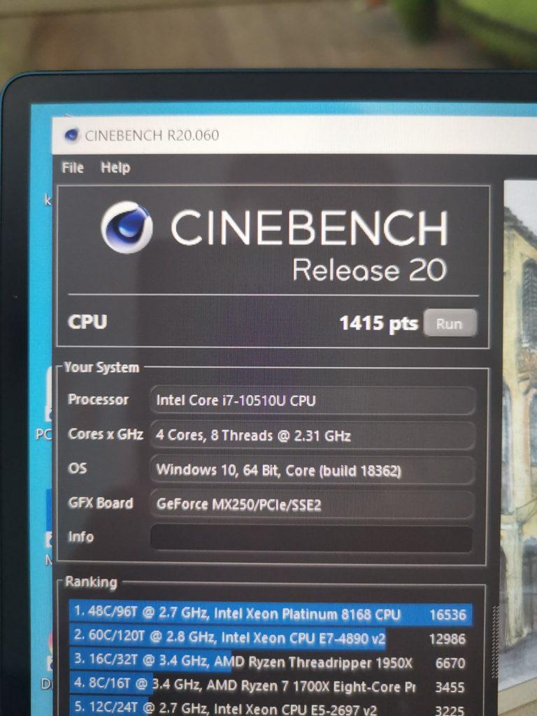 MateBook X Pro 2020 wynik Cinebench R20