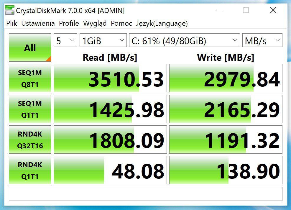 MateBook X Pro 2020 Crystal Mark pomiar szybkości dysku