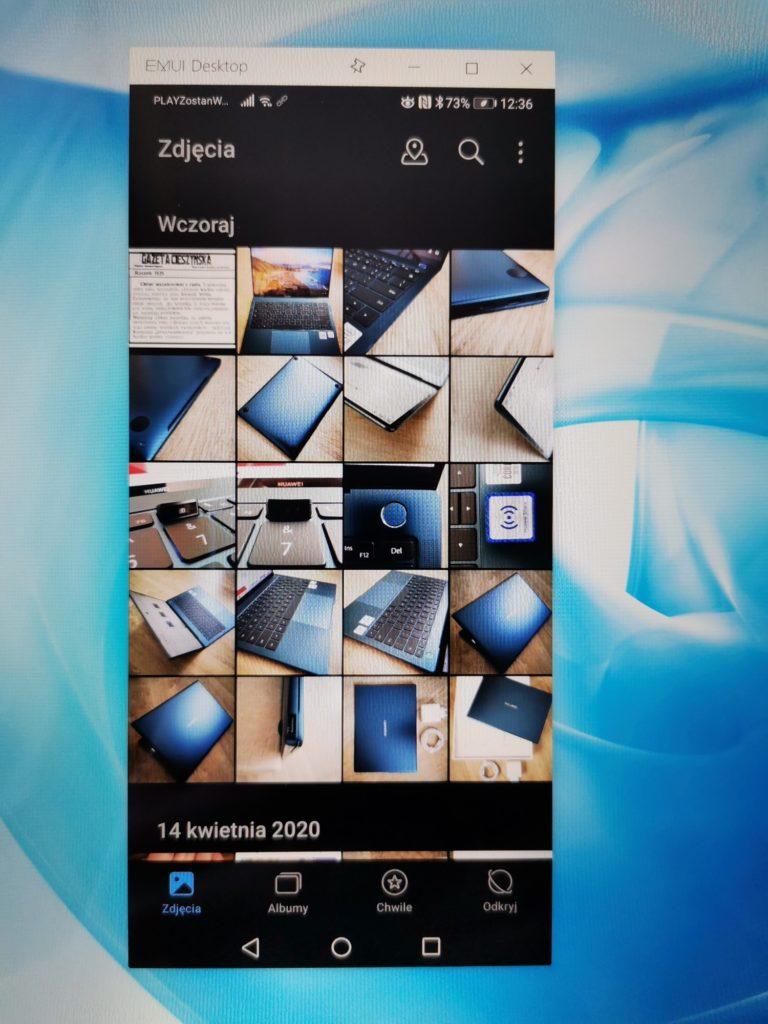 MateBook X Pro 2020 podkląd ekranu smartfona galeria
