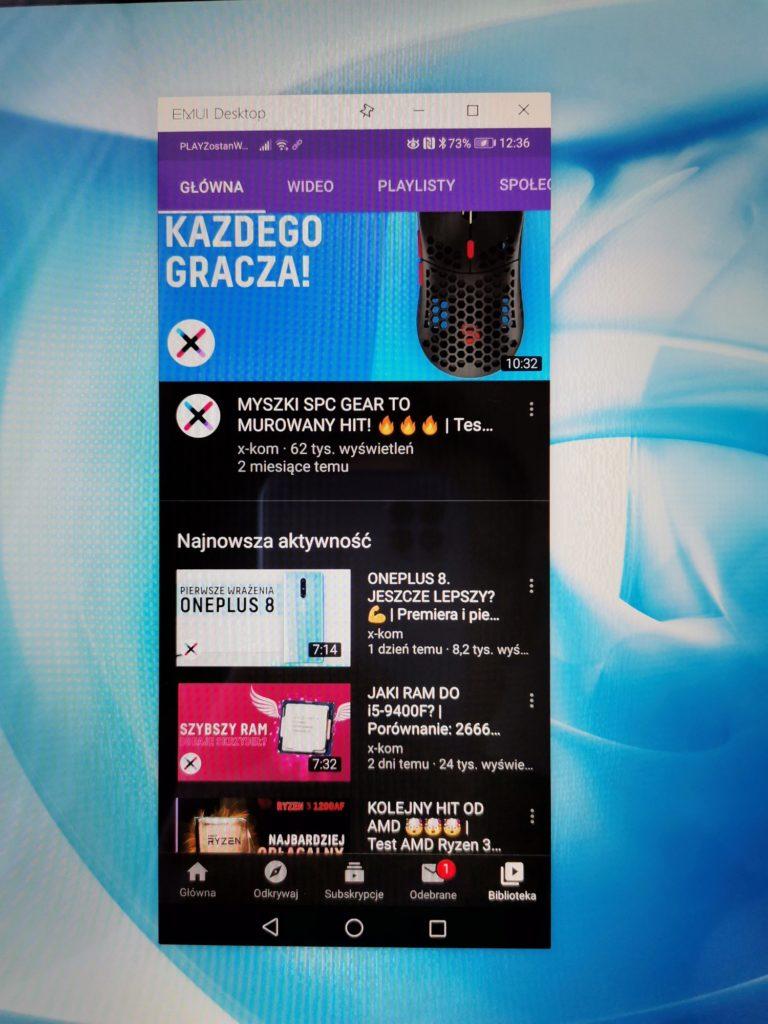 Podlgąd ekranu smartfona na MateBook X Pro 2020 YouTube