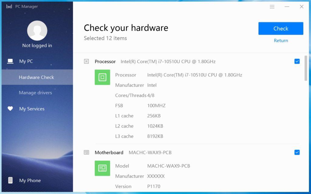 Sprawdzanie podzespołów MateBook X Pro 2020