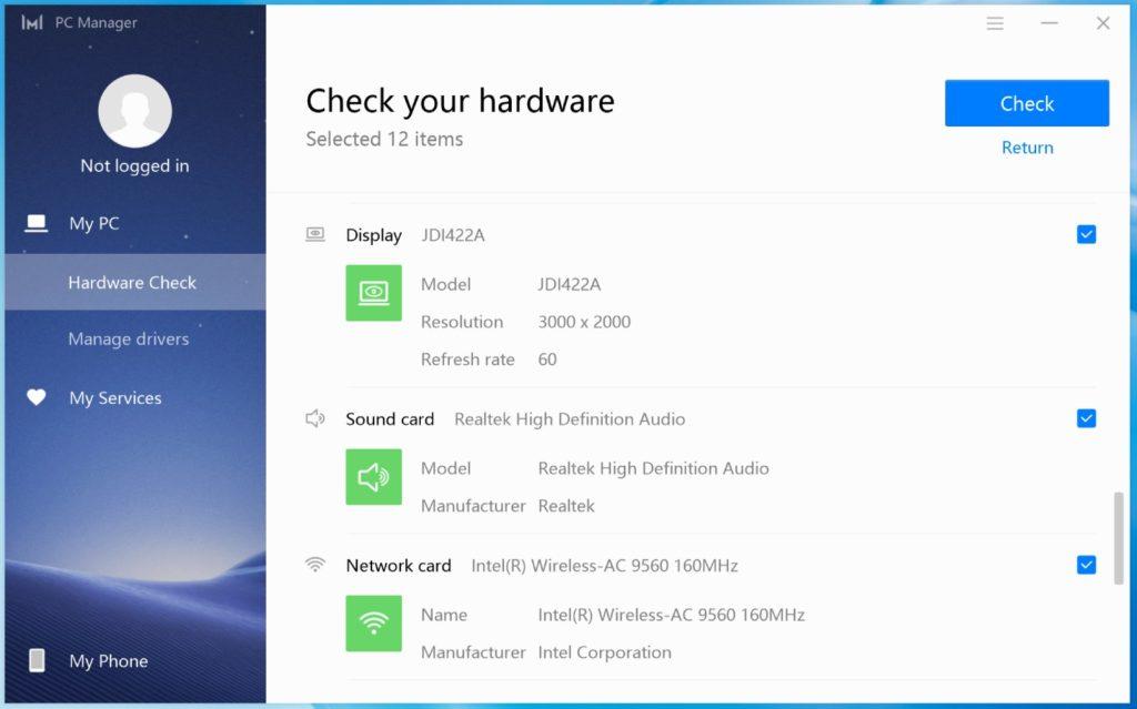 PC Manager MateBook X Pro 2020 sprawdzanie podzespołów