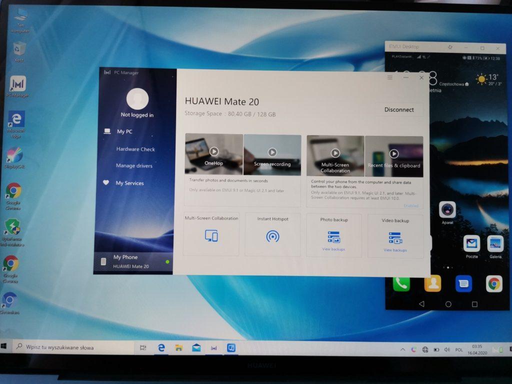MateBook X Pro 2020 konfigurowanie ze smartfonem przez Huawei Share