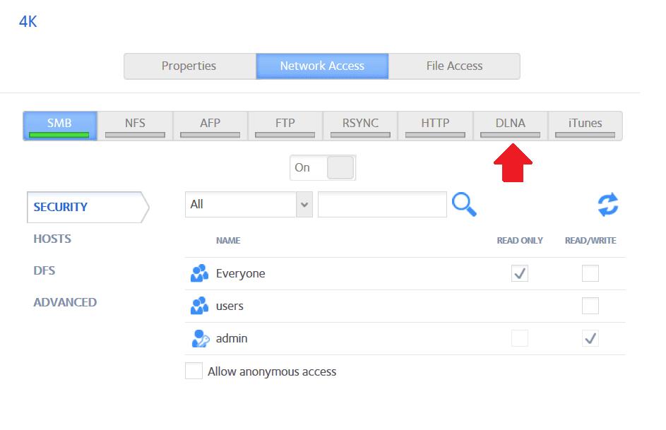 ekran opcji dysku zewnętrznego netgear