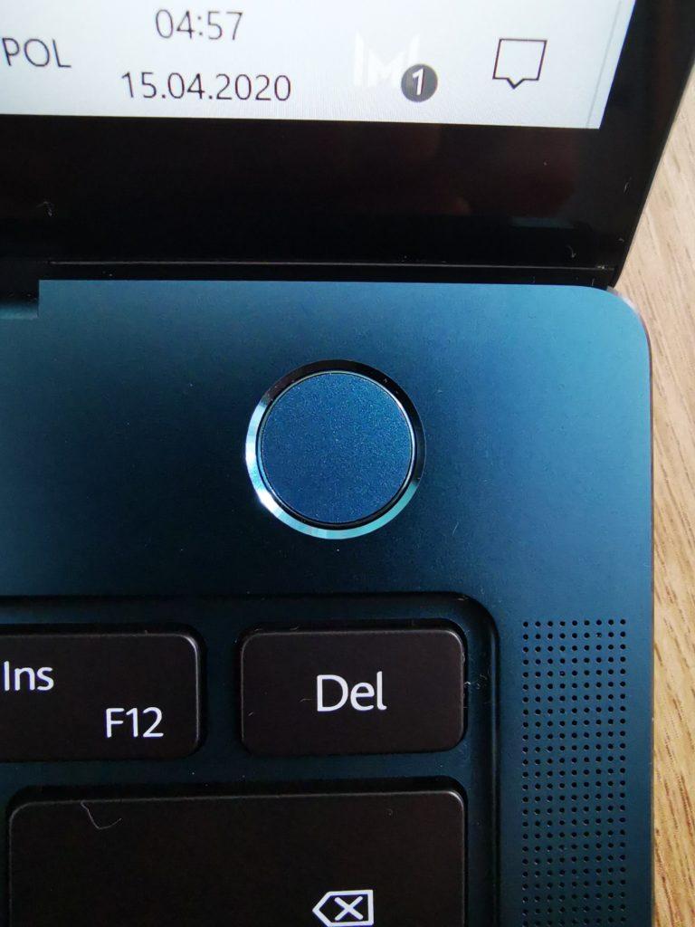 MateBook X Pro 2020 włącznik i skaner linii papilarnych
