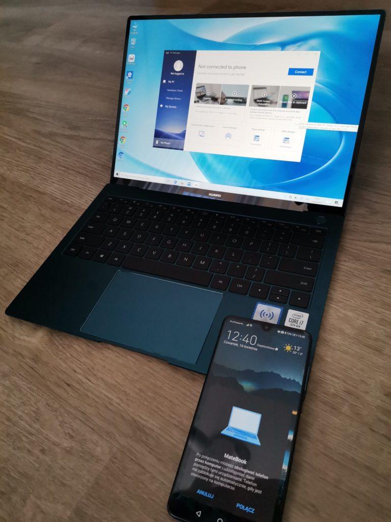 MateBook X Pro 2020 łączenie ze smartfonem przez Huawei Share