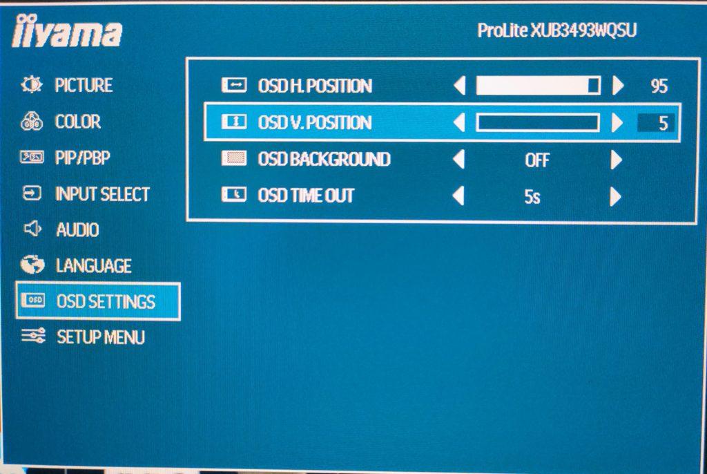 menu iiyama XUB3493WQSU-B1