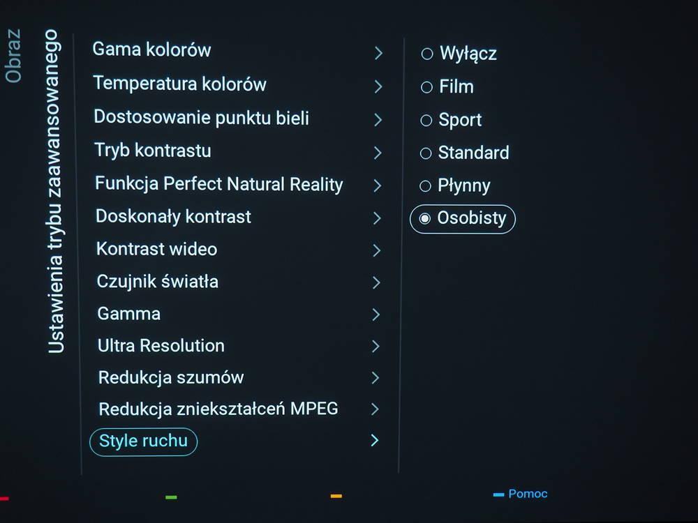opcje upłynniania ruchu w telewizorze marki Philips