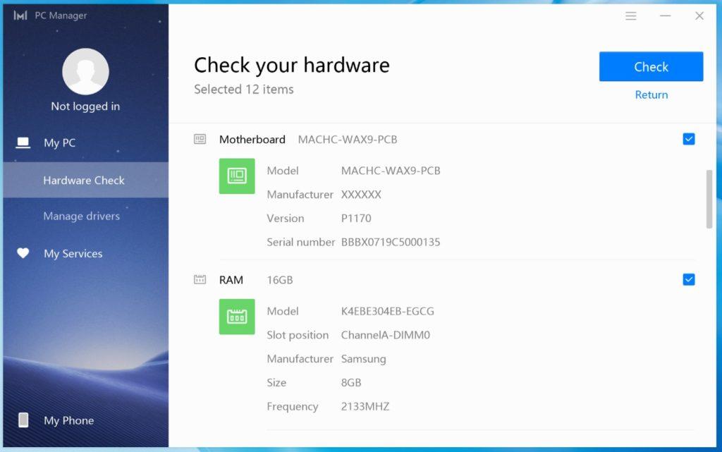 MateBook X Pro 2020 aplikacja PC Manager