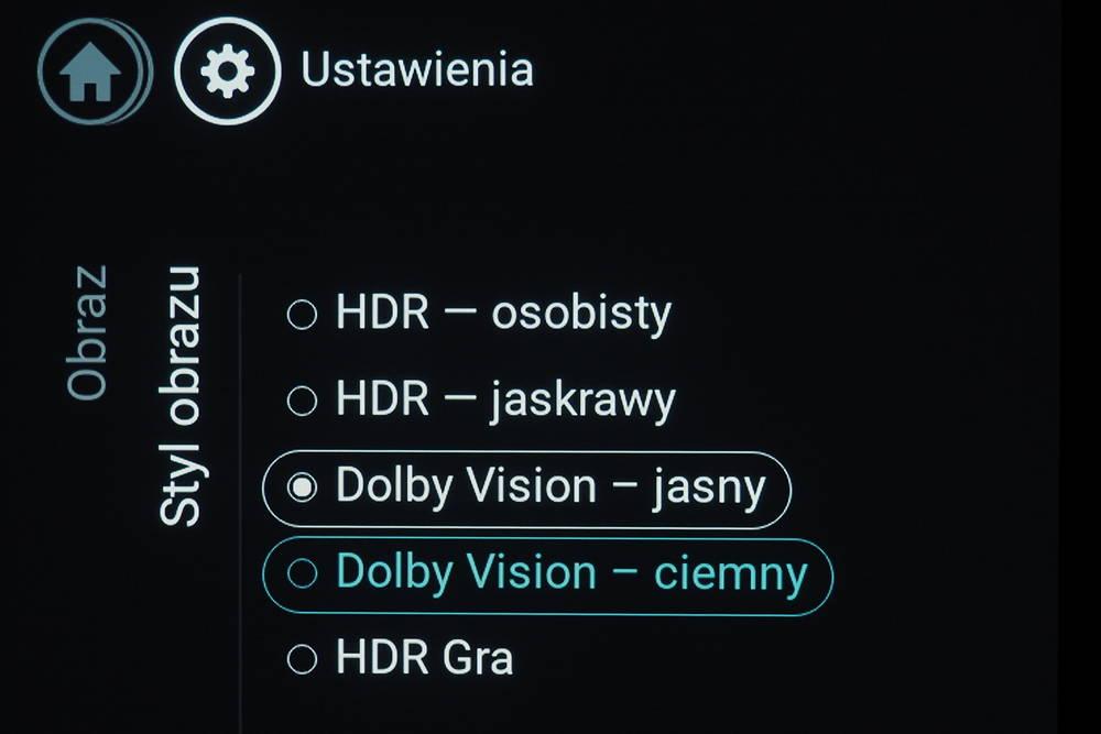 wybór trybu HDR w telewizorze Philips