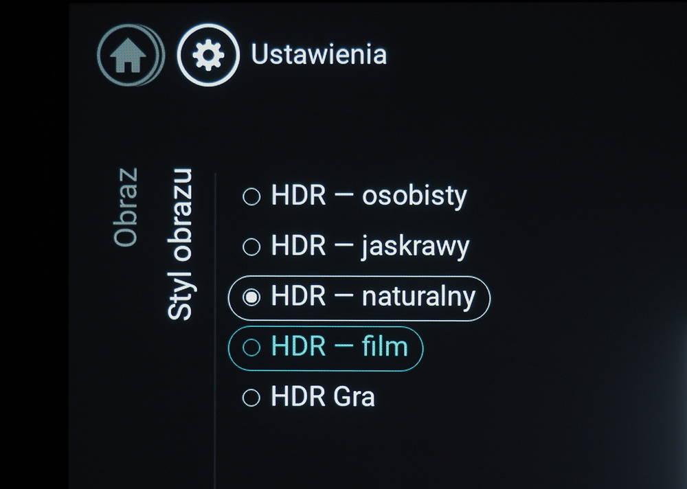 ustawienia trybu HDR w telewizorze marki Philips