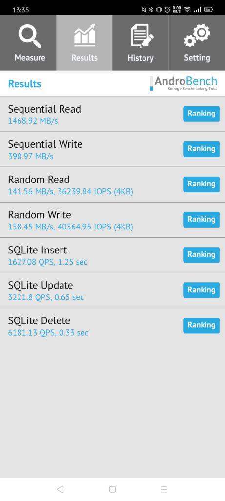 Realme X2 Pro androbench test pamięci