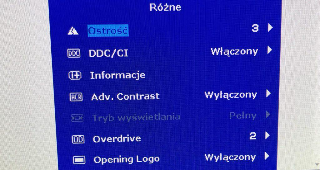 ustawienia menu monitora do CS GO overdrive ostrość