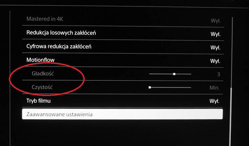 ustawienia motionflow w telewizorze Sony