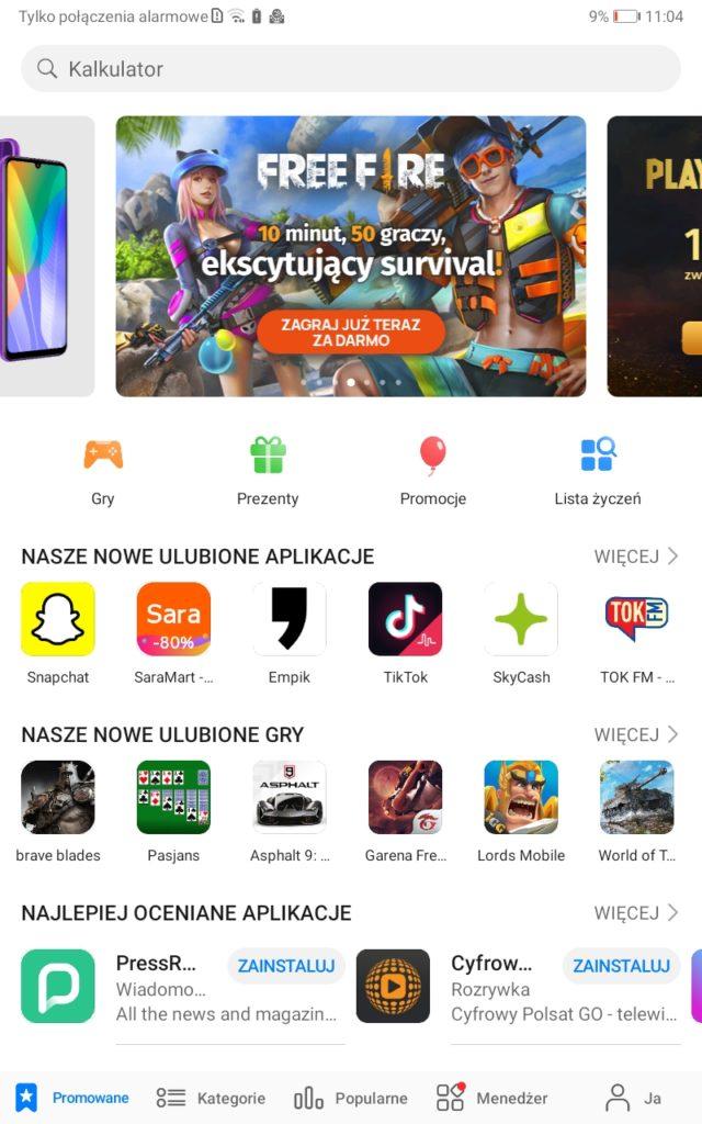 Huawei AppGallery - lista aplikacji