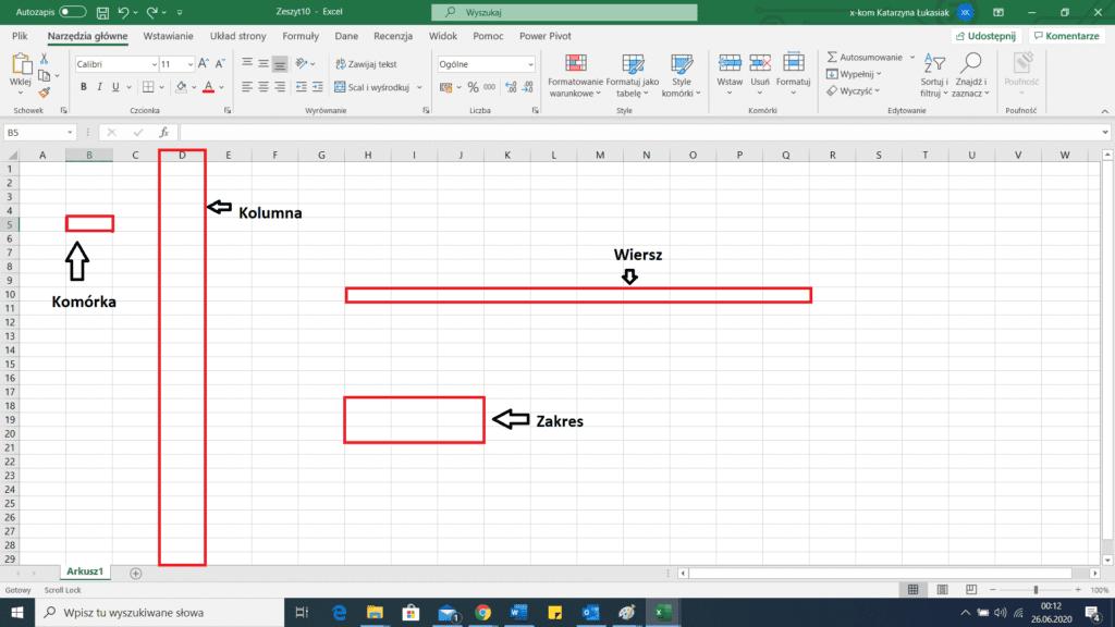 Budowa arkusza Excel