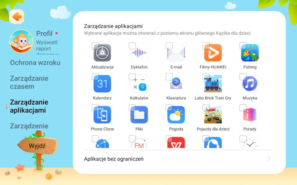 Kącik dziecięcy Huawei MatePad T8 - zarządzanie aplikacjami