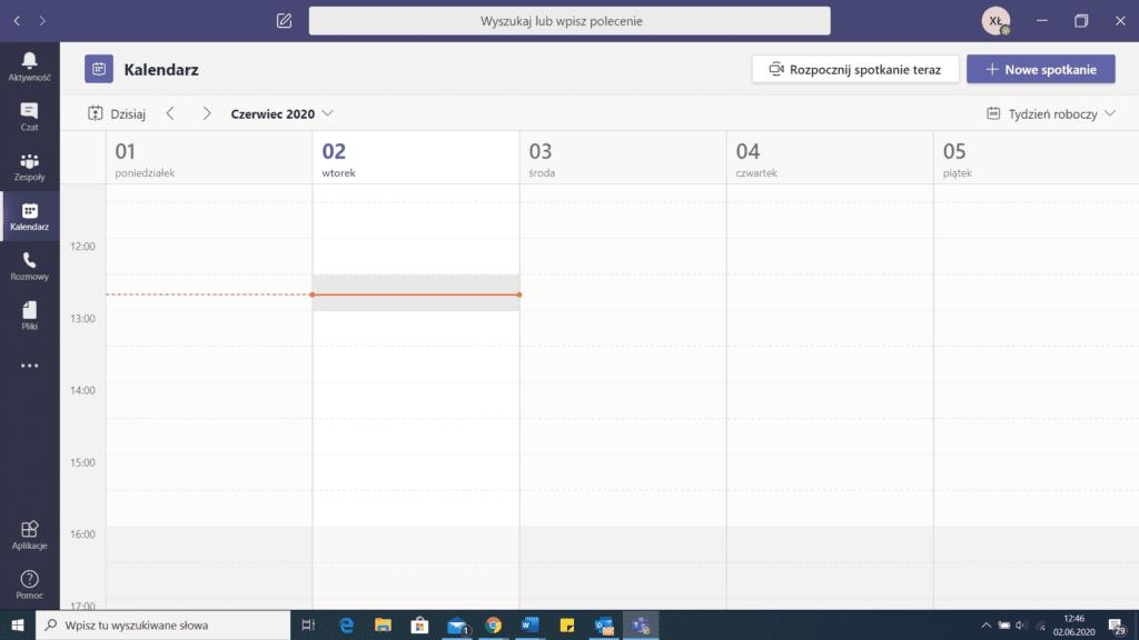 Microsoft Teams - kalendarz