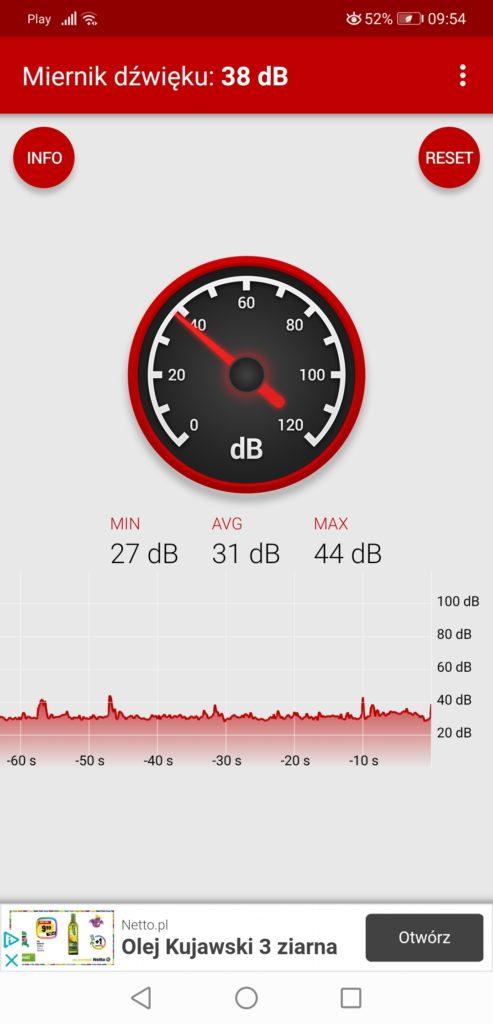 APlikacja Miernik, mierzenie głośności pracy Huawei MateBook 13 2020