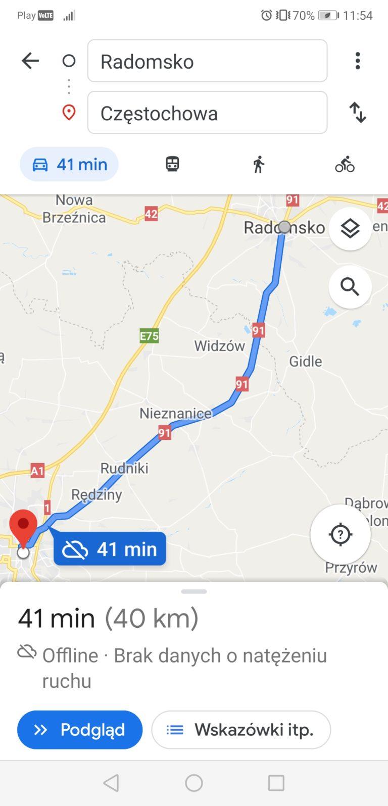 mapy google trasa