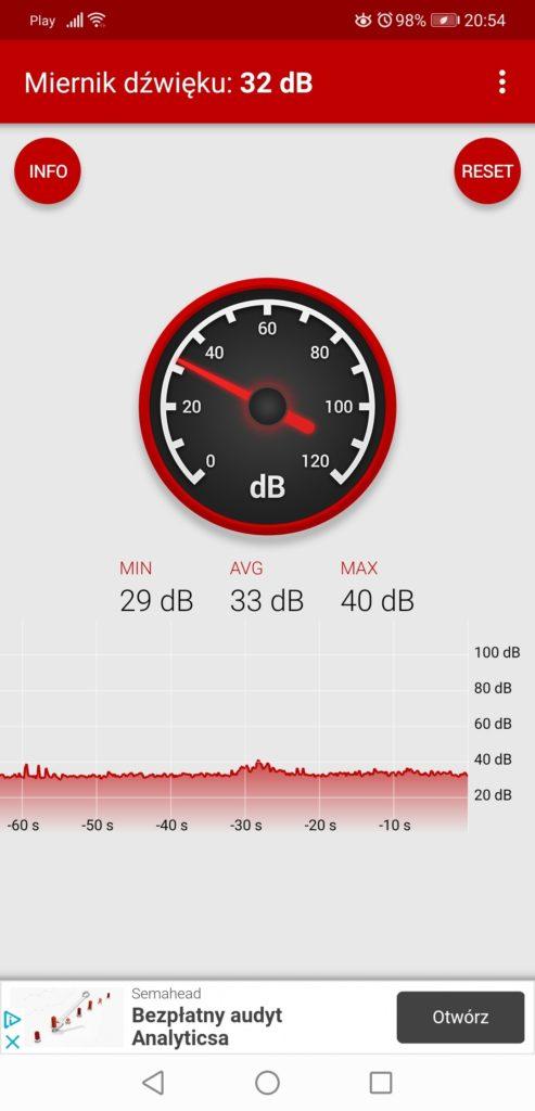 Aplikacja miernik dźwięku głośność Synology DS218