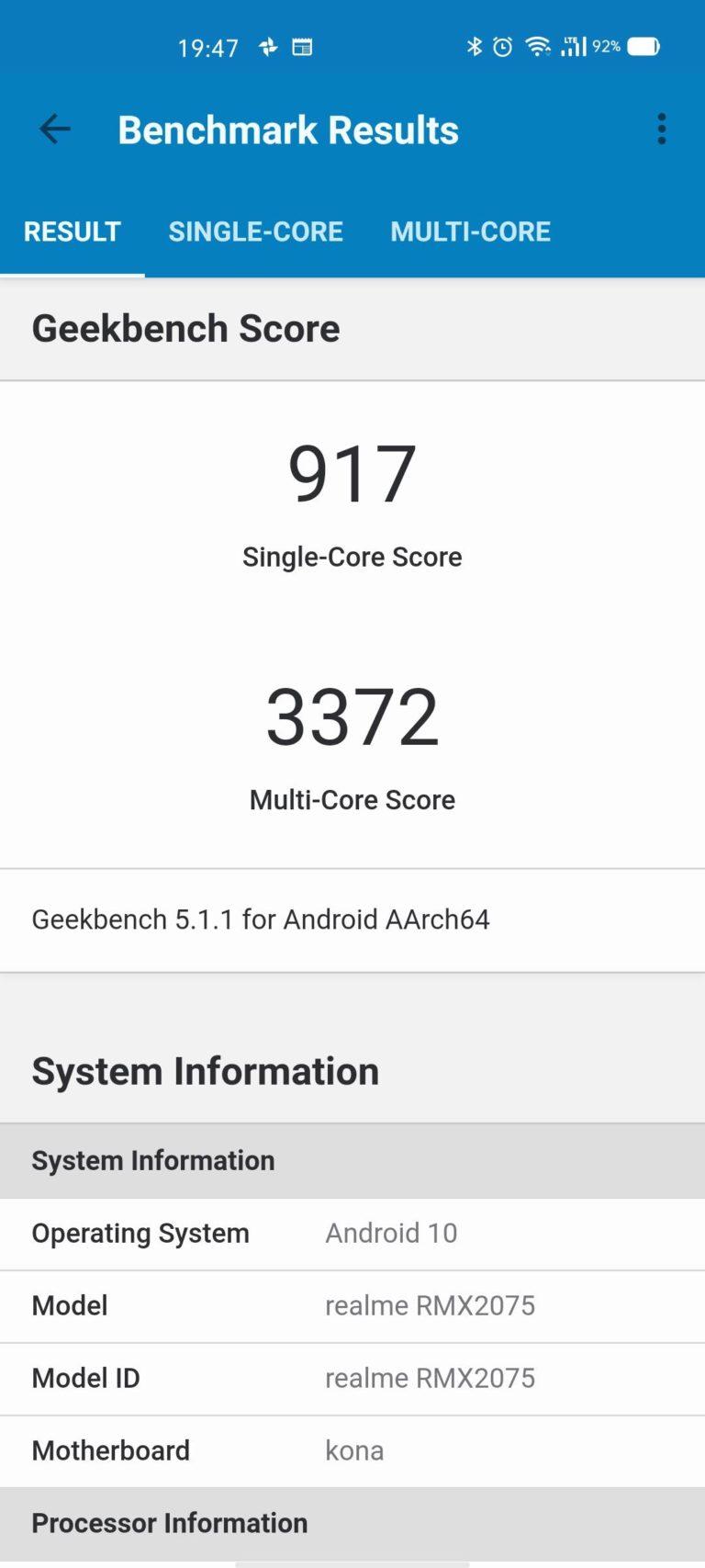 realme x50 pro benchmark geekbench
