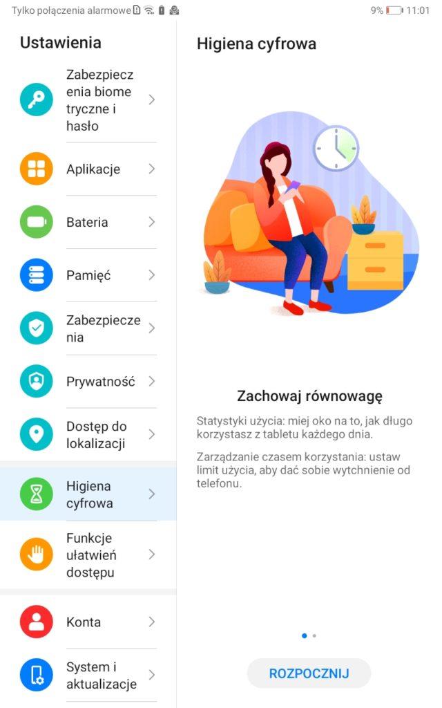 Tryb higiena cyfrowa - Huawei MatePad T8 - zachowaj równowagę