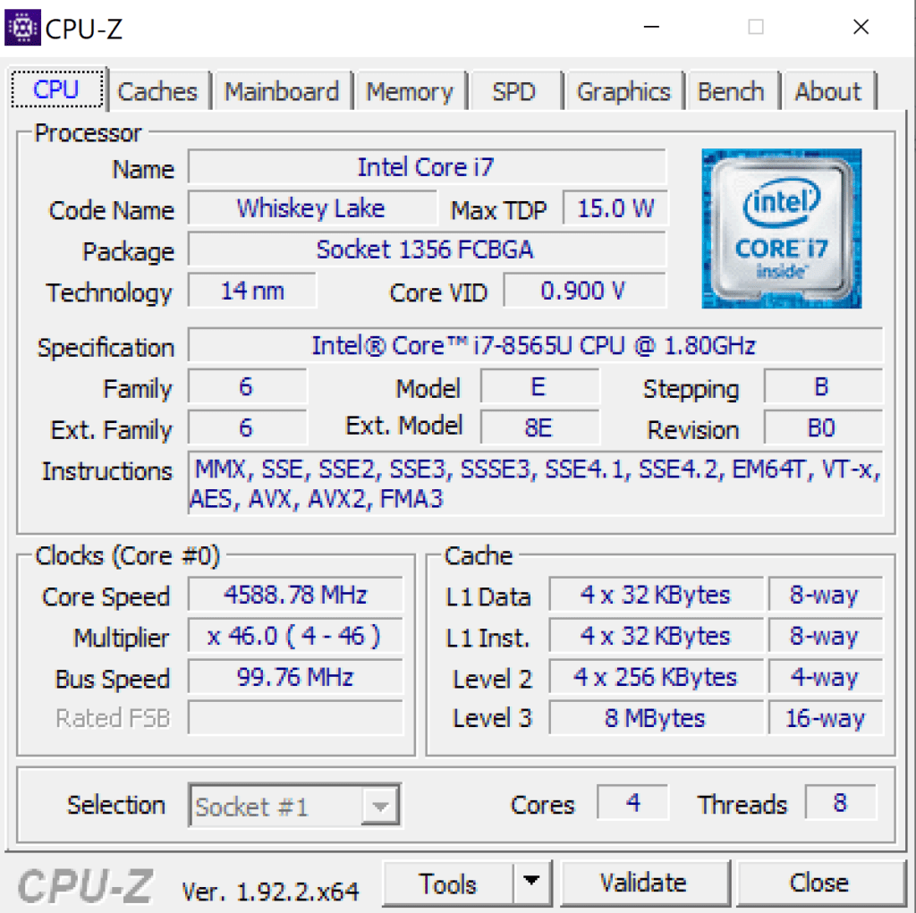 Vaio SX14 screen z CPU-Z