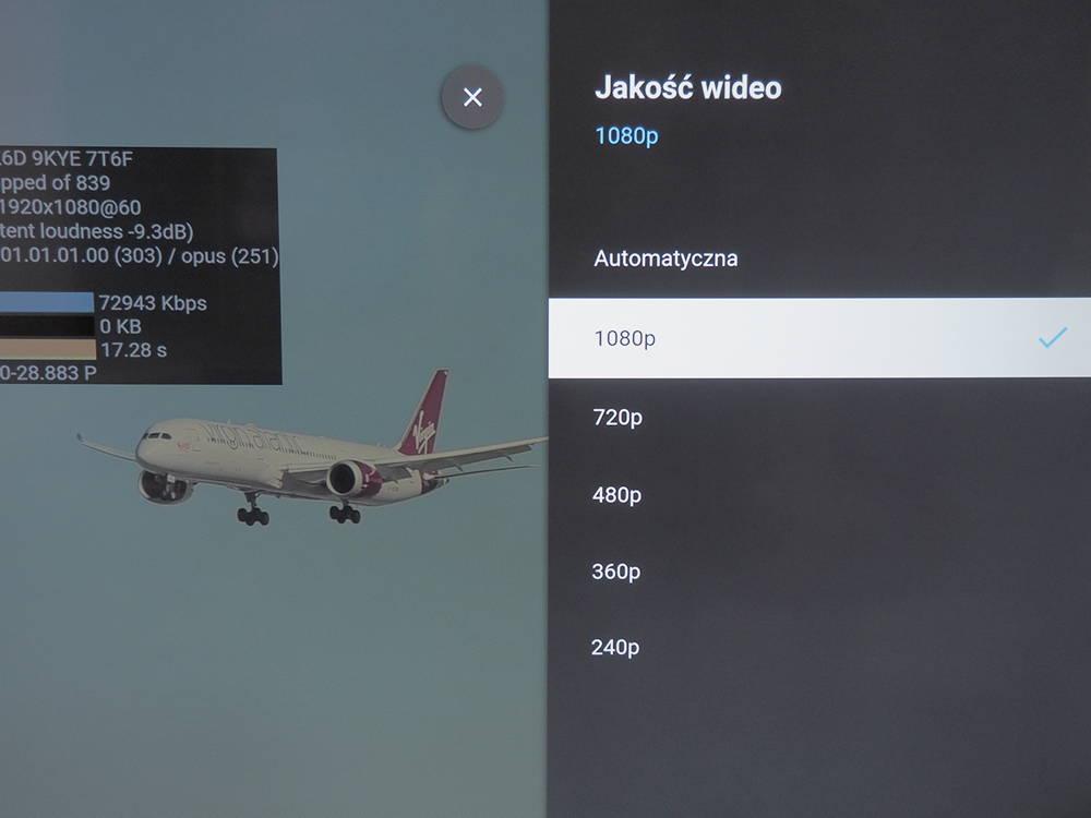 informacja o jakości wideo wyświetlanego na ekranie telewizora Xiaomi