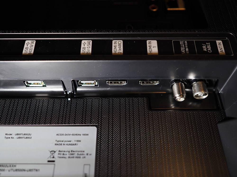 złącza telewizora samsung 65tu8502