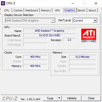 CPUZ Acer Swift 3 GPU, taktowanie, Radeon
