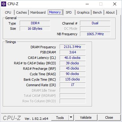 CPUZ Acer Swift 3 RAM taktowanie, prędkości