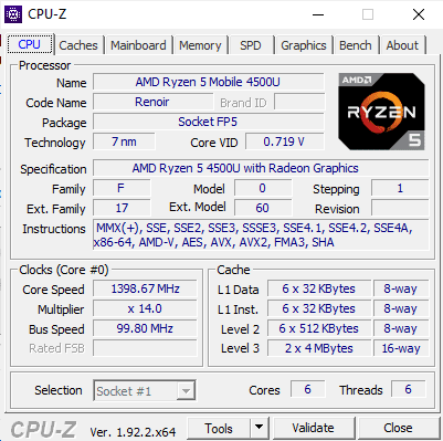 Parametry AMD Ryzen 5 4500U w Acer Swift