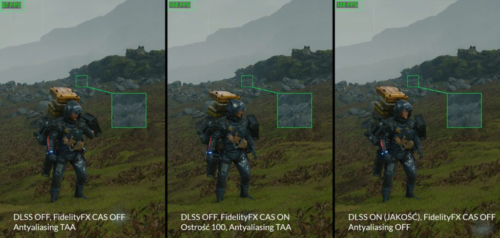 Death Stranding technologia DLSS przykład 1 wydajność