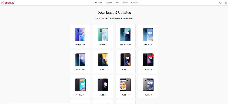 strona oneplus aktualizacja systemu wybór urządzenia
