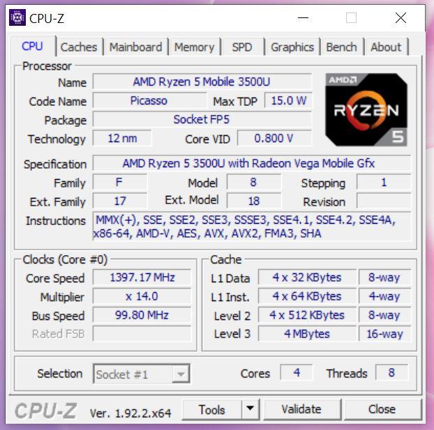 MateBook 13 Ryzen CPU-Z cpu ryzen