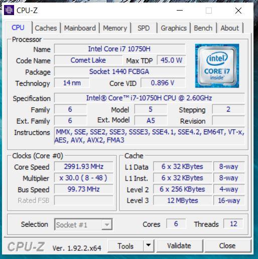 CPU CPU-Z XPS 15 9500
