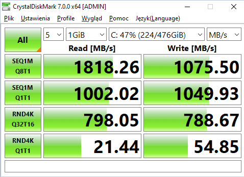 crystalDisk mark Acer Swift 3 test dysku SSD nvme