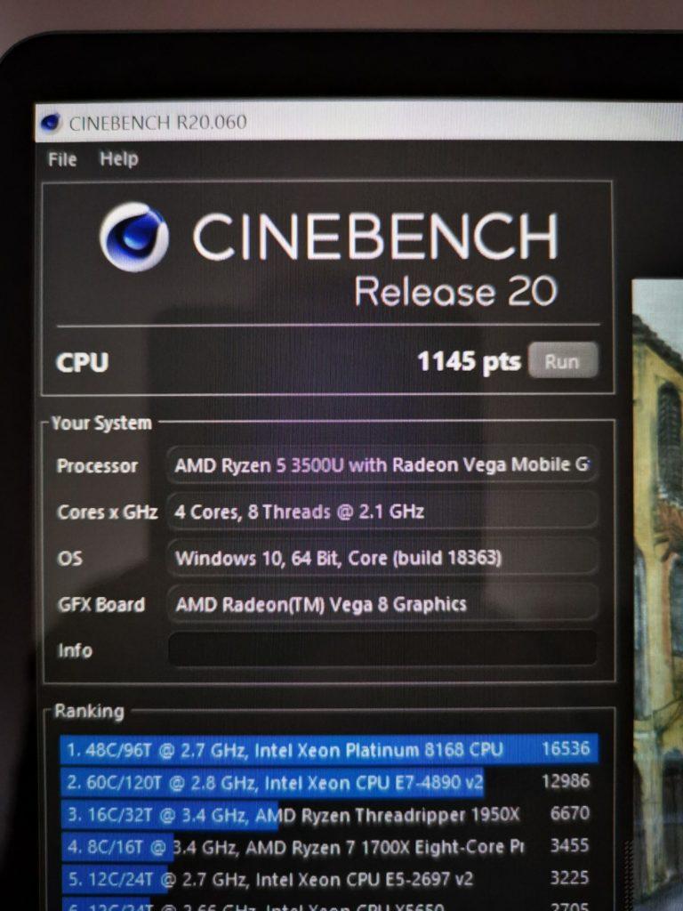 MateBook 13 Ryzen cinebench R20