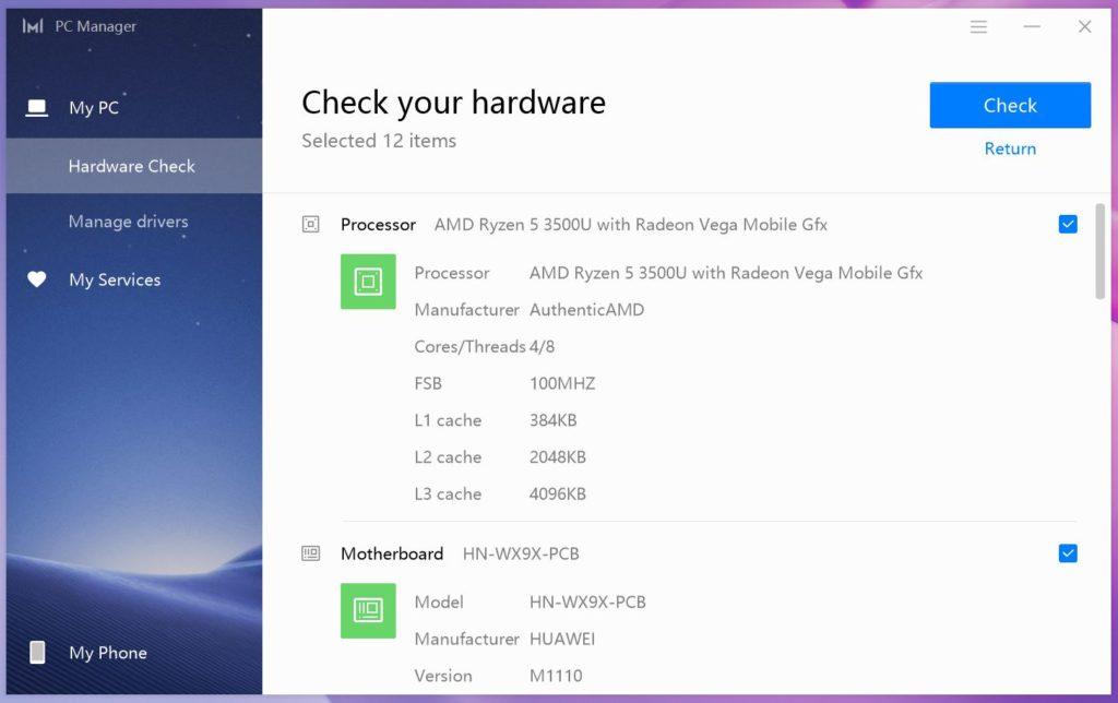 MateBook 13 Ryzen PC Manager CPU
