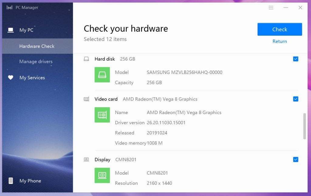 MateBook 13 Ryzen PC Manager dysk