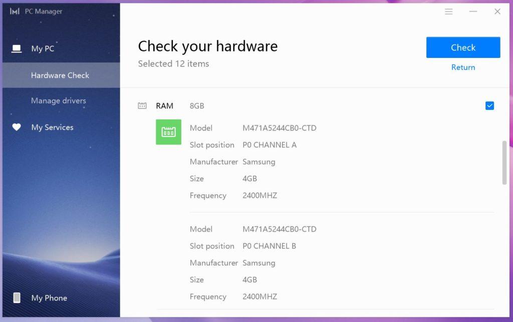 MateBook 13 Ryzen PC Manager pamięć RAM