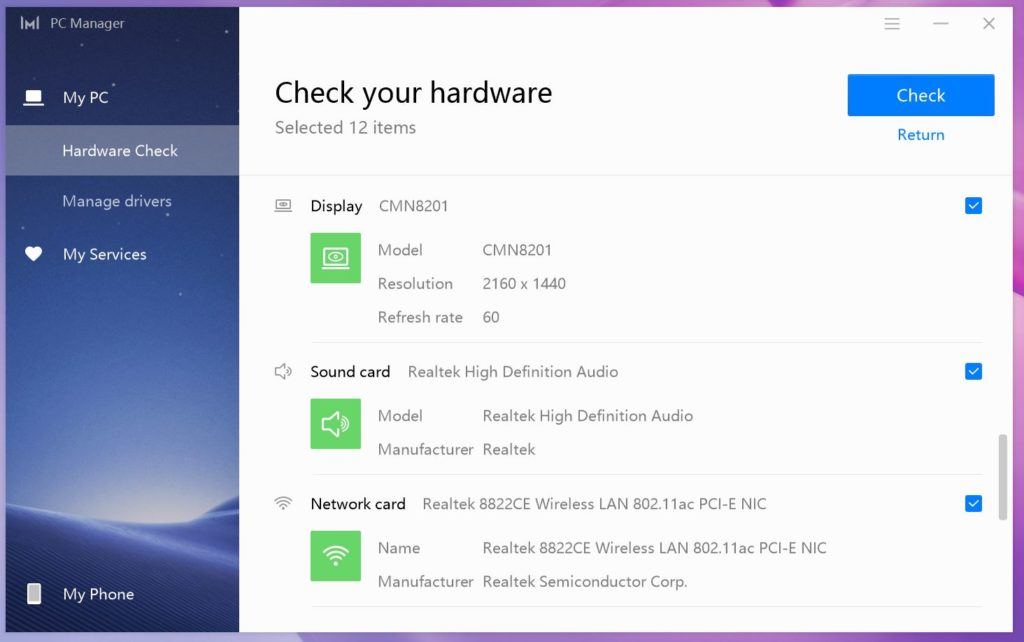 MateBook 13 Ryzen PC Manager wyświetlacz