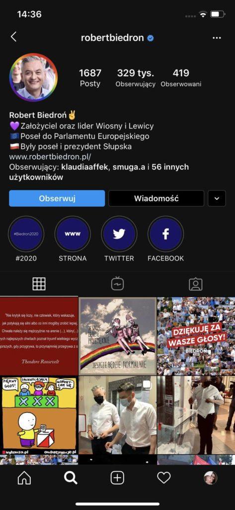 przykładowy profil na Instagramie