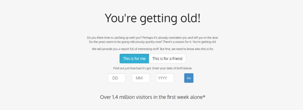 dziwna strona internetowa - starzejesz się