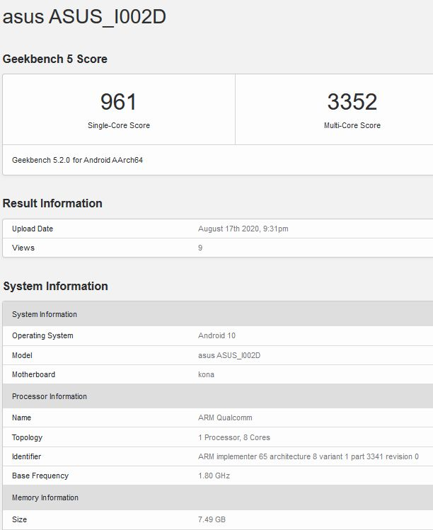 Asus Zenfone 7 geekbench screenshot