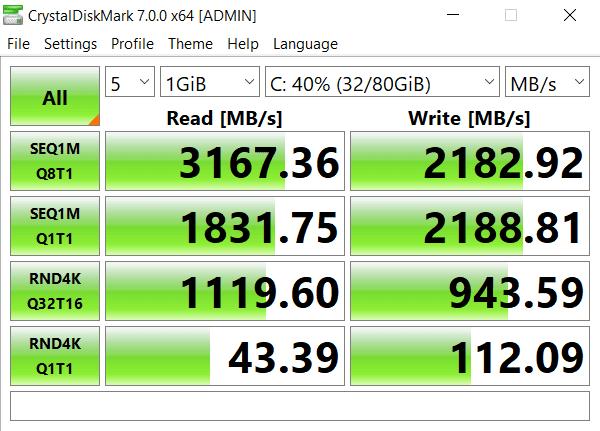 WD 256 gb nvme pcie crystal disk mark