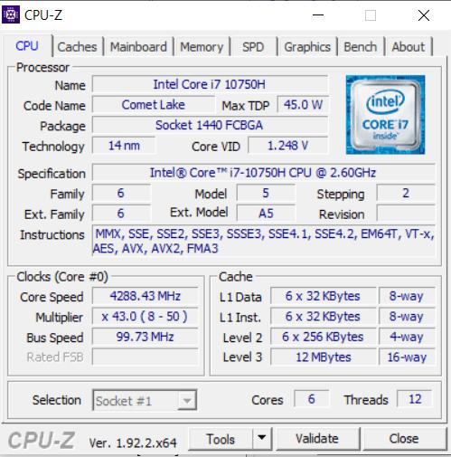 Dell G5 5500 cpu-z