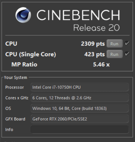 Dell G5 5500 cinebench r20
